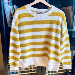 J. Crew mustard and white stripped knit sweater